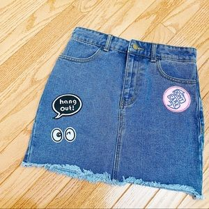 Brand New Forever21 Jean skirt with cute patches